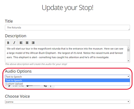 New Feature! New Voices for Text to Speech Generation   Your Audio Tour